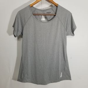 Reebok Gray Workout Top Short Sleeve Size Small